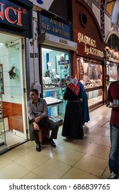 ISTANBUL - May 13, 2014 - Tourists shop for souvenirs in the Grand Bazaar (Kapali carsi ) in Istanbul, Turkey