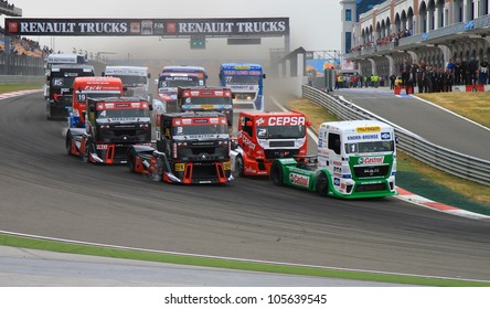 ISTANBUL - MAY 13: Jochen Hahn (1) of MAN Castrol Hahn Racing team leading at start during 3rd race of 2012 FIA European Truck Racing Championship, Istanbul Park on May 13, 2012 in Istanbul, Turkey.