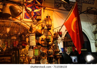 ISTANBUL - MAY 14, 2014 - Exquisite glass lamps and lanterns in the Grand Bazaar (Kapali carsi ) in Istanbul, Turkey