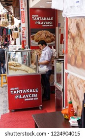 ISTANBUL - May 14, 2014 - Pilaf vendor in the Grand Bazaar (Kapali carsi ) in Istanbul, Turkey