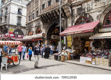 ISTANBUL - May 14, 2014 - Small shops outside the covered market  (Kapali carsi ) in Istanbul, Turkey