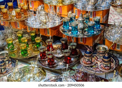ISTANBUL - MAY 14, 2014 - Tea and coffee sets, spices and Turkish desserts  in the Egyptian (Spice ) Market in Istanbul, Turkey