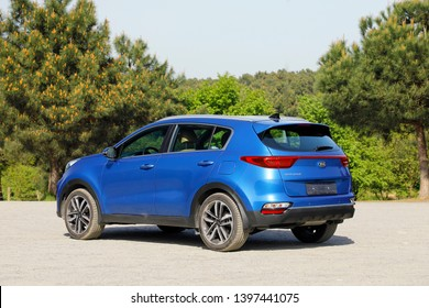 ISTANBUL - MAY 14, 2019: blue Kia Sportage GT-Line at , Fourth generation, compact SUV built by South Korean manufacturer Kia Motor Corporation.
