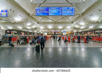 ISTANBUL - MAY 16: Interior of Istanbul Ataturk Airport on May 16, 2016. It's the main international airport of Turkey which is the main hub for Turkish Airlines.