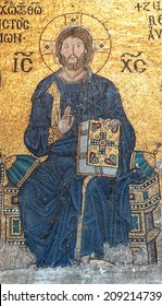 ISTANBUL - MAY 17, 2014 - Christ enthroned,  Byzantine mosaic in the gallery of  Hagia Sophia  in Istanbul, Turkey