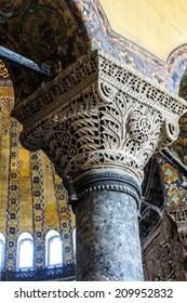ISTANBUL - MAY 17, 2014 - Deeply undercut Corinthian columns of  Hagia Sophia  in Istanbul, Turkey