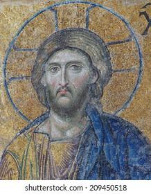 ISTANBUL - MAY 17, 2014 - Jesus Christ sitting in judgement,  mosaic in  Hagia Sophia  in Istanbul, Turkey..