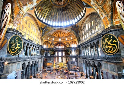 ISTANBUL - MAY 9: Hagia Sophia - ancient basilica on May 9, 2012 in Istanbul, Turkey. For almost 500 years the principal mosque, Ayasofya served as a model for many other mosques