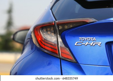 ISTANBUL - MAY: The iconic model logo on the back of the new Toyota C-HR Hybrid crossover May, 2017 Istanbul. Japan-based Japanese car brand
