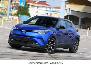 ISTANBUL - MAY: New Toyota C-HR Hybrid, Toyota's modern design crossover model on May, 2017 Istanbul. Japan-based Japanese car brand