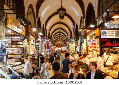 ISTANBUL, May1: People shopping in the Grand Bazar in Istanbul, Turkey, one of the largest covered markets in the world, Istanbul, May 1, 2013