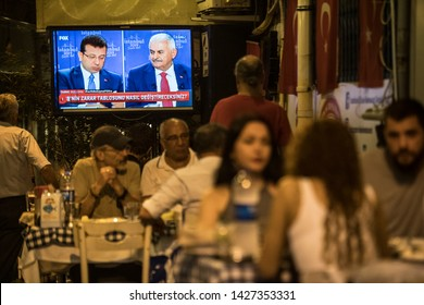 Istanbul Mayor Justice and Development Party candidate Binali Yildirim, Republican People's Party candidate Ekrem Imamoglu participated in the program. 16.july.2019 stanbul at Turkey