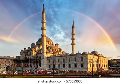 Istanbul - New Mosque, Yeni Cami in the evening with Rainbow, Eminonu district, Turkey