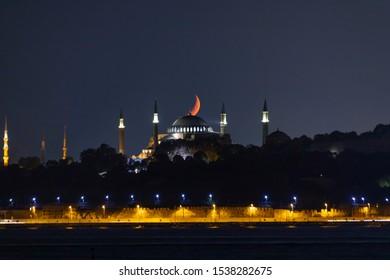 Istanbul night Hagia Sophia moonset
