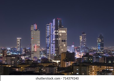 Istanbul night view from the city center. Skyscrapers, hotels and modern office buildings. Istanbul, Turkey.