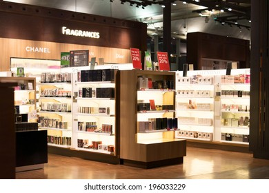 ISTANBUL - NOV. 19, 2013: Fragrances store at Ataturk international airport passenger zone.