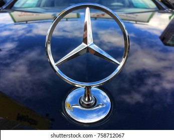 ISTANBUL, NOVAMBER 2017: Mercedes Benz logo close up. Mercedes-Benz is a German automobile manufacturer. The brand is used for luxury automobiles, buses, coaches and trucks.