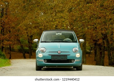 ISTANBUL - NOVEMBER 02, 2018: The Italian automobile brand Fiat is a city car open-top 500C model that has been produced for 60 years.
