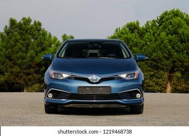 ISTANBUL - NOVEMBER 02, 2018: Toyota Auris Hybrid, the brand's compact-class hybrid-powered eco-hatchback model