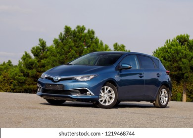 ISTANBUL - NOVEMBER 02, 2018: Toyota Auris Hybrid, the brand's compact-class hybrid-powered eco-hatchback model