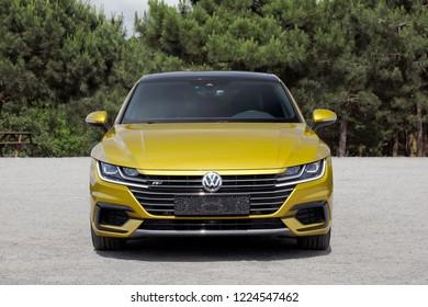 ISTANBUL - NOVEMBER 08, 2018 : Volkswagen Arteon is a four-door fastback based on the Volkswagen Group MQB platform.