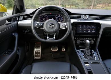 ISTANBUL - NOVEMBER 08, 2018 : Volkswagen Arteon is a four-door fastback based on the Volkswagen Group MQB platform. Arteon's interior dashboard design.