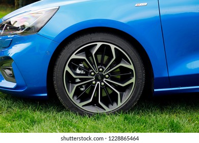 ISTANBUL -NOVEMBER 13, 2018: The new Ford Focus Station Wagon in blue is on the road with the fourth generation of the Ford brand's compact class representative.