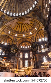 ISTANBUL - NOVEMBER 26, 2016: Hagia Sophia (Ayasofya) interior at Istanbul, Turkey. Hagia Sophia was a Greek Orthodox Christian patriarchal basilica, later an imperial mosque, and now a museum.