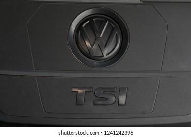 ISTANBUL - NOVEMBER 27, 2018: Volkswagen TSI engine logo close-up