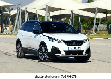 ISTANBUL - NOVEMBER: The new Peugeot 5008 SUV with sharper lines. November 2017 Istanbul. The French automobile bike and motorcycle brand Peugeot is part of the PSA Peugeot Citroen today.