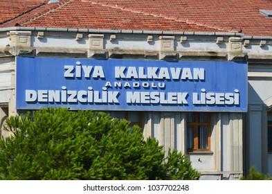 ISTANBUL OCTOBER 04 2013: Denizcilik Meslek Lisesi building. Private Eryetis Reis Maritime Vocational High School