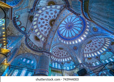 ISTANBUL - OCTOBER 11, 2016: Interior of the Sultanahmet Mosque (Blue Mosque) in Istanbul, Turkey