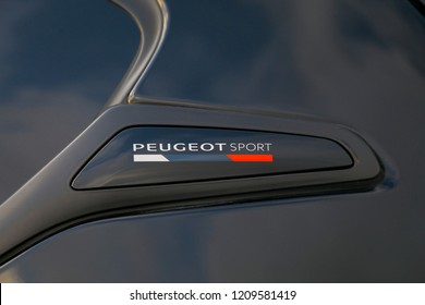 ISTANBUL - OCTOBER 12, 2018: Close-up eugeot sport logo of French car brand Peugeot. Peugeot, the French car, bicycle and motorcycle brand, today is part of PSA Peugeot Citroen.