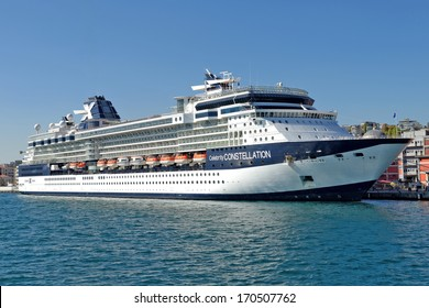 ISTANBUL - OCTOBER 20: Celebrity Cruise's Constellation, docked in port on October 20, 2013 in Istanbul. Karakoy Port receives 15,000 passengers in only one day with 5 cruise ships.