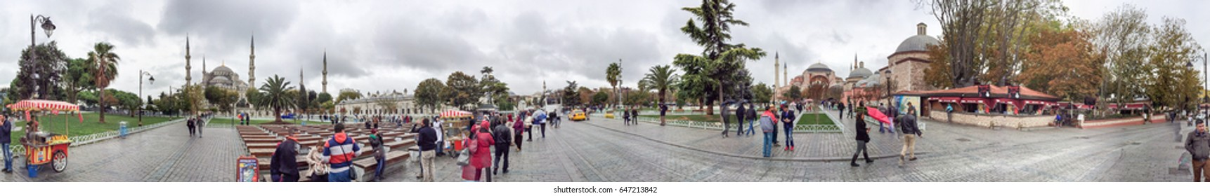 ISTANBUL - OCTOBER 2014: Tourists in Sultanahmet. Istanbul attracts 10 million people annually.