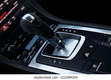 ISTANBUL, OCTOBER 2018 : Porsche 718 Cayman model PDK gear lever close-up.