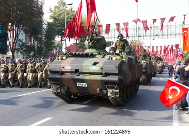 ISTANBUL - OCTOBER 29: Armoured Personnel Carrier at Vatan Avenue during Republic Day celebration of Turkey on October 29, 2013 in Istanbul, Turkey.