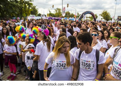 ISTANBUL- OCTOBER 9, 2016: Color Running Festival from Bostanci, Istanbul, Turkey