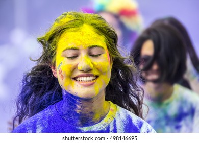 ISTANBUL- OCTOBER 9, 2016: Color Running Festival from Bostanci, Istanbul, Turkey Colorsky, Colorfest, Holifest, Holi Festival