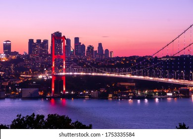 Istanbul panoramic sunset 15th July Martyrs Bridge (15 Temmuz Sehitler Koprusu). Istanbul Bosphorus Bridge. Holiday destination Turkey, finance center buildings, skyscrapers, banks, business towers.
