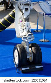 ISTANBUL - SEPTEMBER 08: Nose Landing Gear of a Gulfstream on Airex Istanbul 9th international civil aviation and airports exhibition on September 08, 2012 in Istanbul, Turkey.
