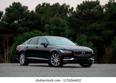 ISTANBUL - SEPTEMBER 10, 2018: The Volvo S90 is a mid-size luxury sedan manufactured and marketed by Swedish automaker Volvo Cars. Its estate variant is called the Volvo V90.