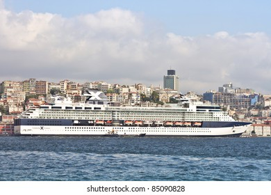 ISTANBUL - SEPTEMBER 19: Celebrity Cruise's Constellation, docked in port on September 19, 2011 in Istanbul. Karakoy Port receives 15,000 passengers in only one day with 5 cruise ships.