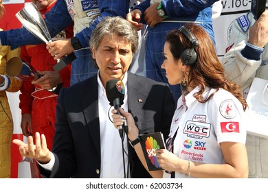 ISTANBUL - SEPTEMBER 25: Fatih Mayor Mustafa Demir gives a speech at the Fatih Grand Prix ceremony during UIM World Offshore 225 Championship on September 25, 2010 in Istanbul, TURKEY
