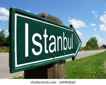 Istanbul signpost along a rural road