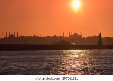 Istanbul silhouette with hagia sophia