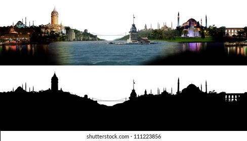 Istanbul skyline, with all important buildings and attractions of the city - photographic composition with corresponding alpha silhouette mask
