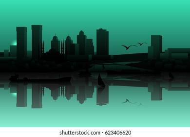Istanbul skyline  silhouette.