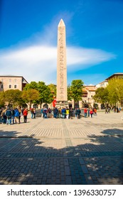 Istanbul, Sultanahmet / Turkey - 25-04-2019 : Obelisk of Theodosius (Dikilitas) with hieroglyphs in Sultanahmet Square, Istanbul, Turkey. Ancient Egyptian obelisk in Istanbul City