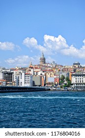 Istanbul at sunny day Galata district, Turkey view from bosphorus
